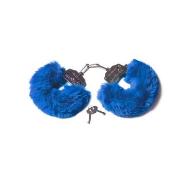 Шикарные наручники с пушистым мехом цвета кобальт